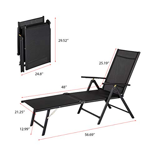 Esright Outdoor Chaise Lounge Chair Set of 2,Black Set of 2 Folding Textiline Reclining Lounge Chair for Beach Yard Pool Patio with 7 Back /& 2 Leg Adjustable Positions