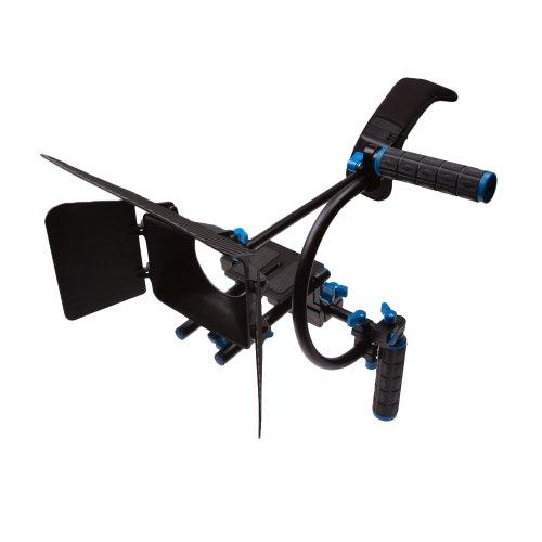 StudioPRO DSLR Camcorder Movie Shoulder Mount Stabilizer Rig 3 Support System with Two Handles C Shaped Bracket, Matte Box
