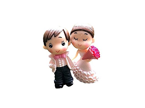 - Cute Miniature Bride and Groom Figurines Fairy Garden Bonsai Micro Landscape Statues Decor (Pink) for Decoration
