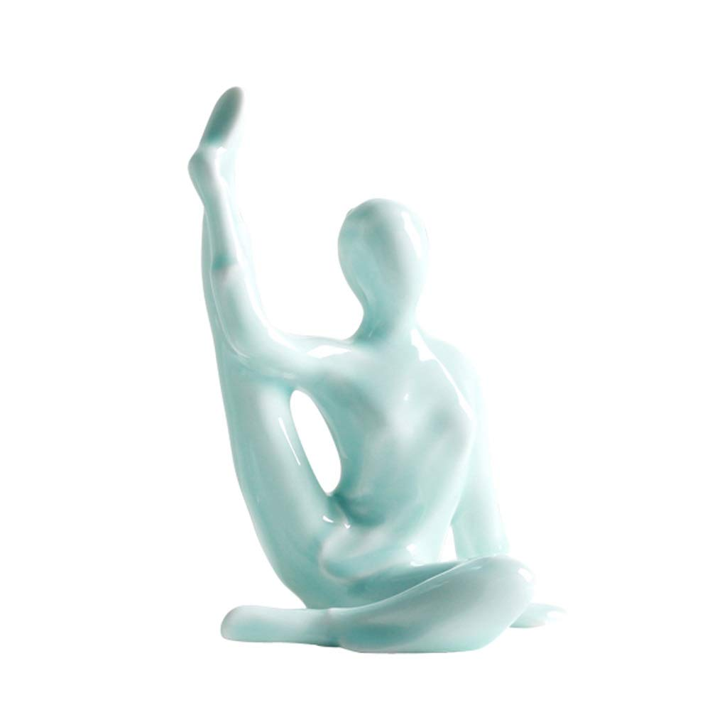 YULAN Modern Minimalist Ceramic Yoga Studio Small Figure Decoration European Living Room Creative TV Cabinet Home Decoration Crafts (Color : E) by YULAN