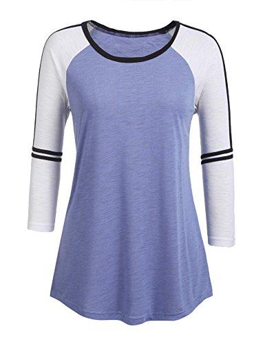 3/4 Sleeve Raglan Baseball - Grabsa Womens 3/4 Sleeve Raglan Baseball T-Shirts O Neck Colorblock Striped Tops Blue X-Large