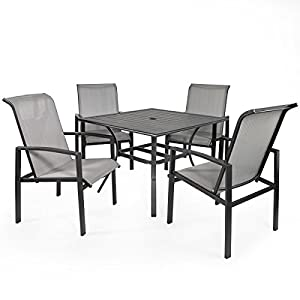 Barton Mesh Dining Set, Patio Table And Chairs, 5pcs