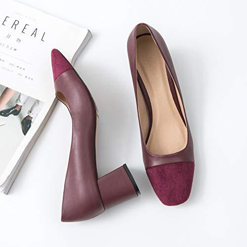 Yukun zapatos de tacón alto Color Otoñal Que Empareja La Cabeza Cuadrada del Tacón Alto Grueso con Los Zapatos Solos Femenino con El Negro Salvaje Zapatos Elegantes De La Mujer del Trabajo Red Wine