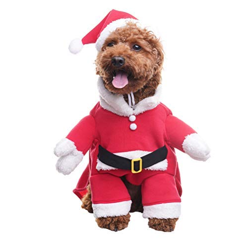 BINGPET Santa Dog Christmas Costume and Hat Set for Small -