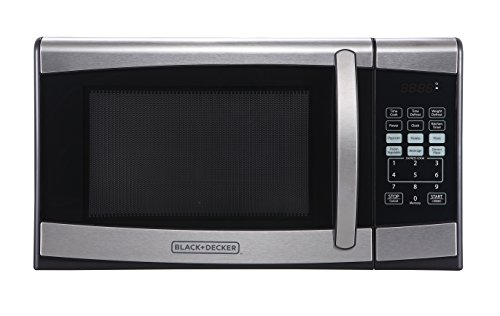 BLACK+DECKER EM925AZE-P 0.9 Cubic Foot 900 Watt Stainless Steel Microwave with Turntable, Cu.Ft, Black/Silver in USA