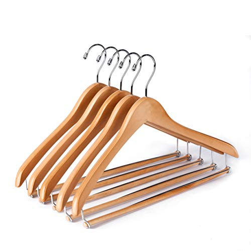 (Quality Hangers Wooden Hangers Beautiful Sturdy Suit Coat Hangers with Locking Bar Glossy Natural Wood)