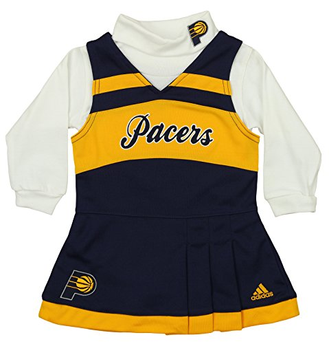 adidas NBA Infants Girls Cheer Jumper Dress with Turtleneck, Indiana Pacers 18 (Infant Cheer Jumper)