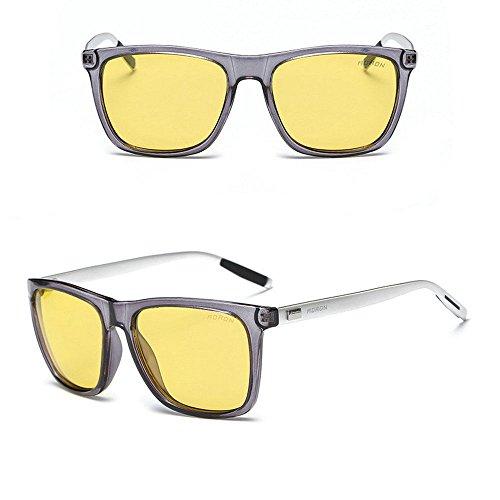 Aluminium Men's Polarized Driving Mirrored Sunglasses Gray/Night Slight - Kong Hong Sunglasses Brand