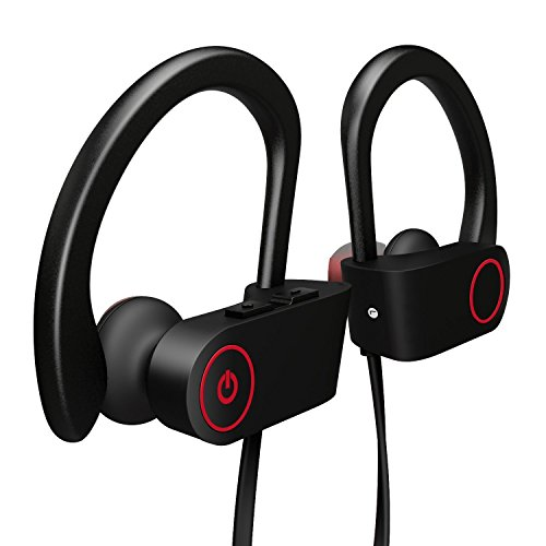 Couradric Wireless Sports Bluetooth Headphones IPX7 Waterproof HD Stereo Sweatproof Earbuds Built-in Microphone Workout 8-Hours Battery Noise Canceling Headsets for Running Exercising