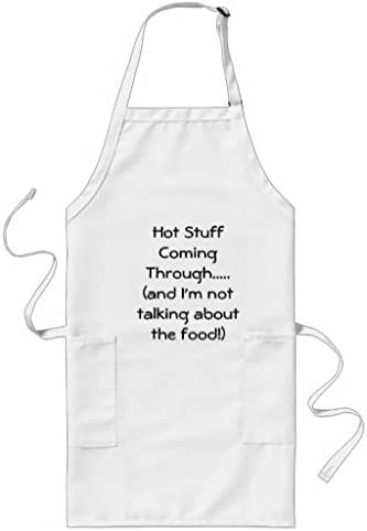 Hot girls in apron Amazon Com Simplyeo Cute Apron Patterns For Girls Boys Hot Stuff Coming Through Aprons Restaurant Kitchen Chef Cooking Bbq Aprons Adjustable Neck Strap Waist Ties Home Kitchen