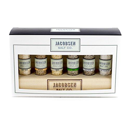 Jacobsen Salt Co. 6 Vial Salt Sampler with Wooden Stand
