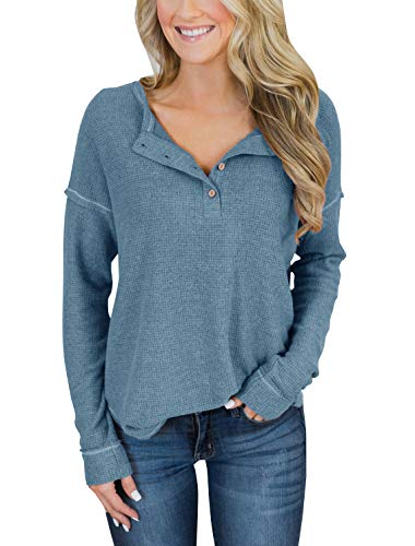 (PRETTODAY Women's Long Sleeve Henley Tops Casual Pullover with Buttons Scoop Neck Tunics Blue)