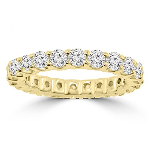 2.21 ct Ladies Round Cut Diamond Eternity Wedding Band (Color G Clarity SI-1) in 18 kt Yellow Gold In Size 6.5 by Madina Jewelry