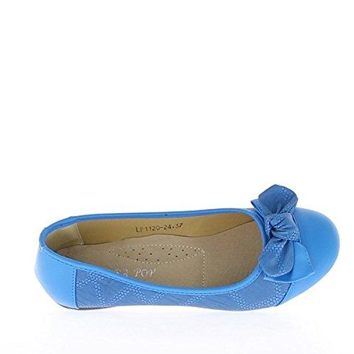 Ballerines femme bleues décorées avec noeud