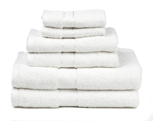 Premium Bamboo Cotton 6 Piece Towel Set - Natural, Ultra Absorbent and Eco-Friendly (White)