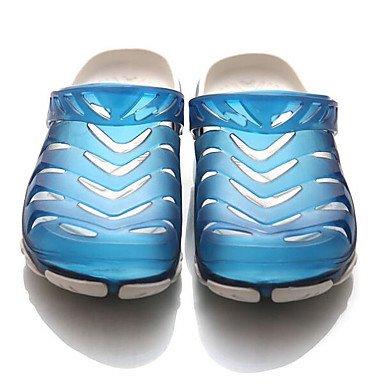 Los hombres sandalias zapatos agujero confort par zapatos casual de resorte de goma azul Royal Pantalla plana color negro,el color de la pantalla Royal Blue