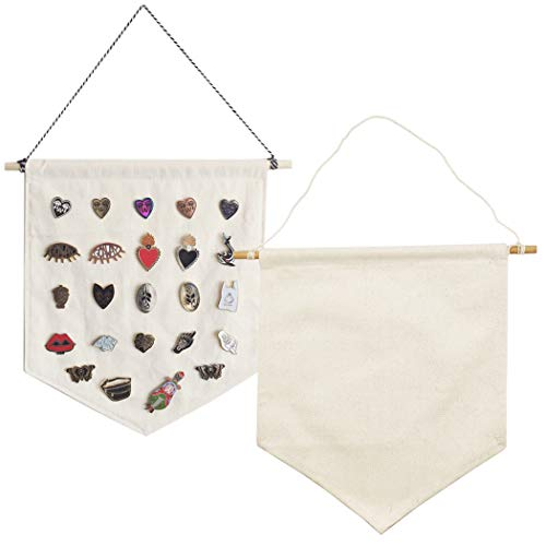 Hixixi 2pcs DIY Blank Canvas Banner Flags Wall Display Banners Enamel Pin Banners Collection Lapel Badge Storage Canvas Wall Hanging with Rod (Natural Beige)