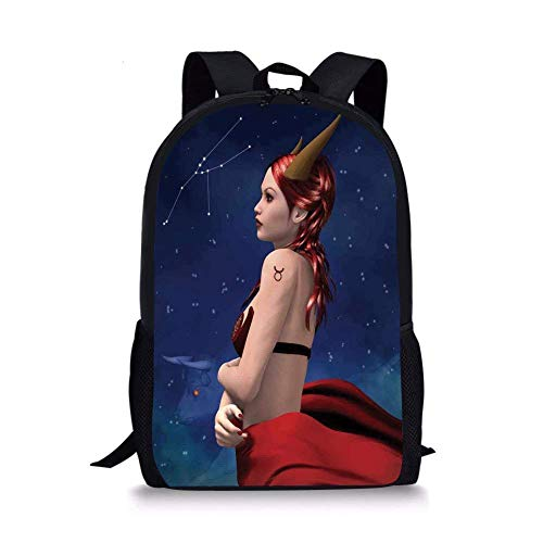 School Bags Astrology,Taurus Girl with Horns Maleficent Zodiac Stars Venus Beauty Graphic Design Decorative,Navy Red Brown for Boys&Girls Mens Sport Daypack