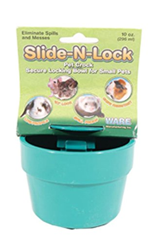 Ware Manufacturing Plastic Slide-N-Lock Crock Pet Bowl for Small Pets, 10 Ounce - Assorted Colors - Depth Slide