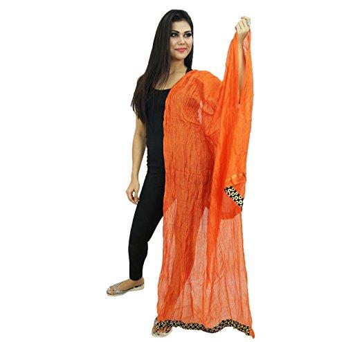 Silk Longueue Indian Dupatta Orange triturado Chunni Art Entourage 86aTRq