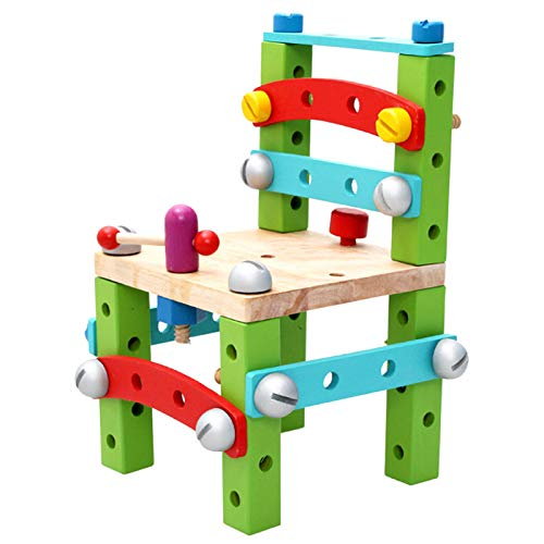 Child Chair Wooden - Kids Building Blocks Nuts Bolts Hammer Screwdriver Puzzle Early Educational Toys Build Your Own - Large Home Apron Crafts Creative Straw House Kits Pipes Book Toys Ge