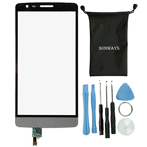 Sunways Touch Digitizer Screen Glass Lens Replacement For LG G3 mini D722 D722K D722V D724 D725 D728 With device opening tools(Gray) by sunways