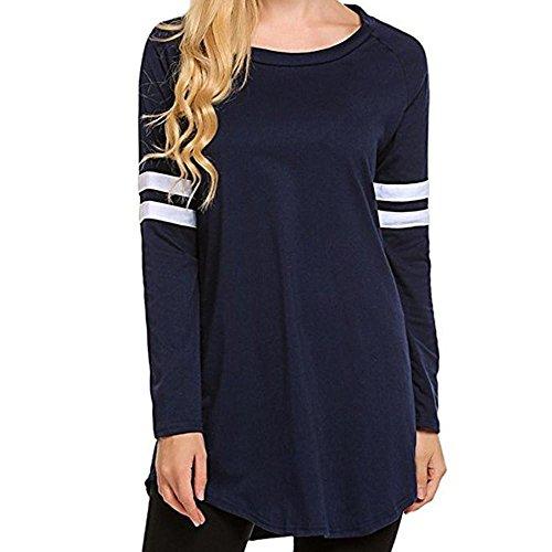 330b980e HGWXX7 Women Tops Long Sleeve Casual Autumn O-Neck Tunic Blouse Sweatshirt  Shirt(XL,Navy)