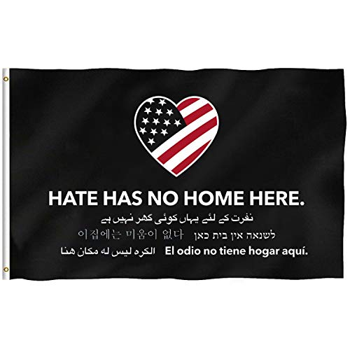 Breeze Banner Hate Has No Home Here Flag 3x5 ft Sewn Stripes Brass -