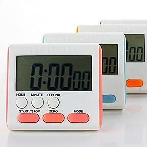 "JIAO- Electronic Stopwatch Countdown Clock Kitchen Timer (Random Color) ,Plastic 3""X2.8""X0.6"""