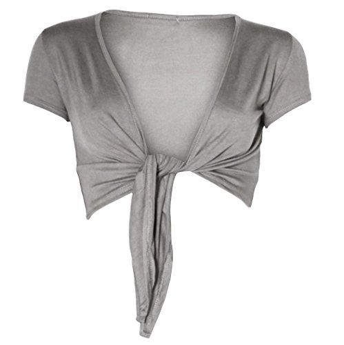 Womens Short Sleeved Crop Top Tie up Shrug (Mtc) (8/10 (uk 12/14), Light grey)