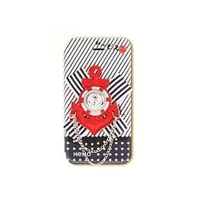 HC- Versión coreana de tela Flores Style Series rojas colorea la caja de cuero de la marina de guerra Icono de la PU con el soporte para iPhone 4/4S