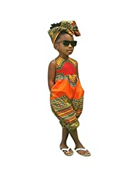 Baby Toddler Girls Summer Clothes Jumpsuits for 2-7 Years Old Child Kids African Print Sleeveless Romper Onesies