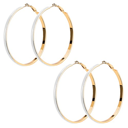 Aprilsky large White Enamel Charm Spring Hoop Earrings in Gold Tone with 2 Pairs Set (Tone White Ring Enamel Gold)