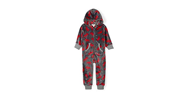 Little Blue House by Hatley Unisex-Child Hooded Fleece Jumpsuit Pajama Set