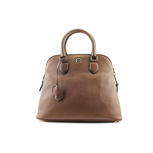Tory Burch Robinson Pebbled Open Dome Womens Brown Purse Leather Satchel