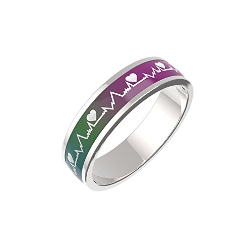 Color Changing Titanium/Stainless Steel Mood Ring, ECG/EKG Design by ELLO ELLI (Silver, 10)