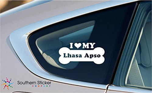 I Love My Lhasa Apso Dog Bone Puppy Symbol White Vinyl Car Sticker Symbol Silhouette Keypad Track Pad Decal Laptop Skin Ipad Macbook Window Truck Motorcycle -