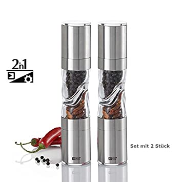 AdHoc Design Salt and Pepper Mills Duo Spice 22 cm with Grinder + ...