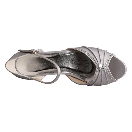 Wedopus MW033B Puntera Abierta de La Mujer Mid-Heel Mary Janes Rhinestones Boda Fiesta Sandalias plata