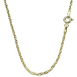 """18k Gold-Flashed Sterling Silver Singapore Nickel Free Chain Necklace Italy, 16"""""""