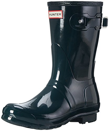 Womens Hunter Original Short Gloss Wellingtons Snow Winter Rain Boots Ocean