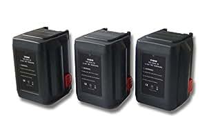 vhbw Sparset 3x Li-Ion batería 4000mAh (18V) para herramientas Gardena cortabordes AccuCut 400 Li (8840-20) por 8835-U, 8835-20, 8839, 8839-20.