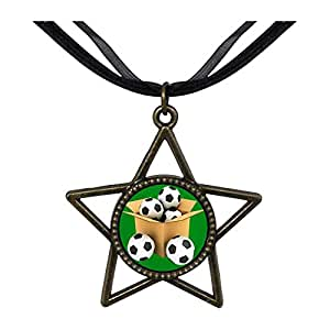 Chicforest Bronze Retro Style UEFA Euro soccer ball in the box Five Pointed Star Pendant