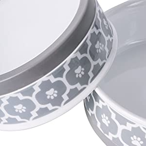 "Bone Dry DII Lattice Ceramic Pet Bowl for Food & Water with Non-Skid Silicone Rim for Dogs and Cats (Medium - 6"" Dia x 2"" H) Gray - Set of 2"