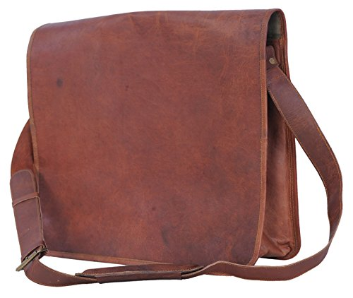 Passion Leather Vintage 15 Inch Leather Messenger Satchel Laptop Bag/Fits 13