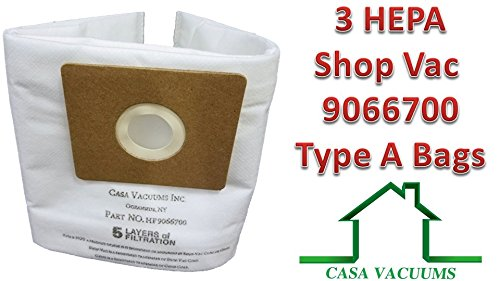 Shop-Vac HEPA FILTRATION 9066700 1.5-Gallon All About Collection Bag, 3-Pack by Casa Vacuums