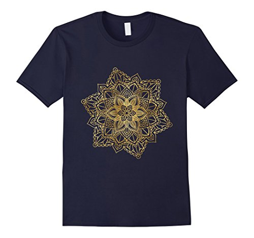 Mens Mandala Sacred Fractal Geometry Art Yoga Mantra Good Vibes 3XL Navy (Fractal Snowflake)