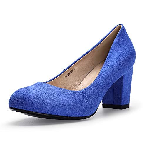 IDIFU Women's RO3 Sherry Classic Closed Round Toe Medium Chunky Block Heels Wedding Dress Office Pumps Shoes (7.5 M US, Royal Blue Suede)