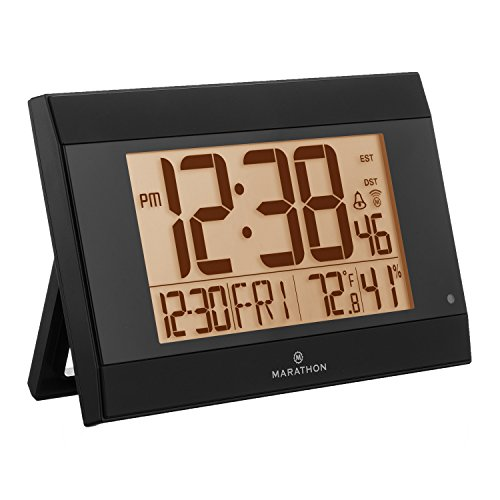 Marathon CL030052BK Auto-Night Light Digital Wall Clock with Batteries Included, Black