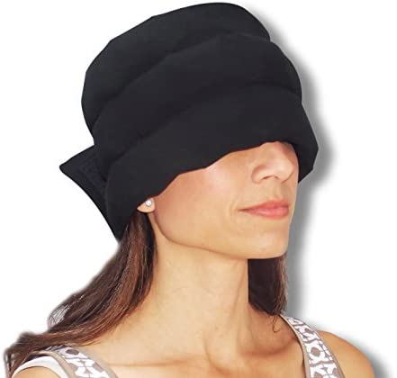 HEADACHE HAT The Original – Wearable Flexible Three Row Ice Pack for Migraines & Headache Relief Eye Mask Long Lasting Cooling No Mess Ice Therapy Stress Relief Tension Relief Standard Size (Black)